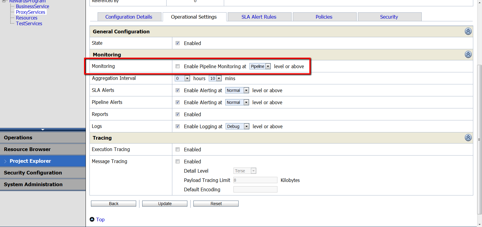 Screenshot of configuring service monitoring
